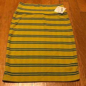 Lularoe Cassie skirt mustard blue stripe Large NWT